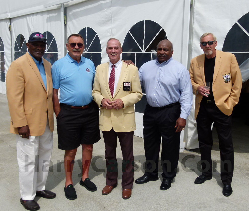 These are the living Hall of Fame Middle/Inside Linebackers From left to right: Harry Carson, Dick Butkus, Sam Huff, Willie Lanier, Jack Lambert.  Not shown Mike Singletary